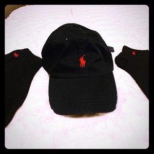 New Black Polo Ralph Lauren hat + matching socks